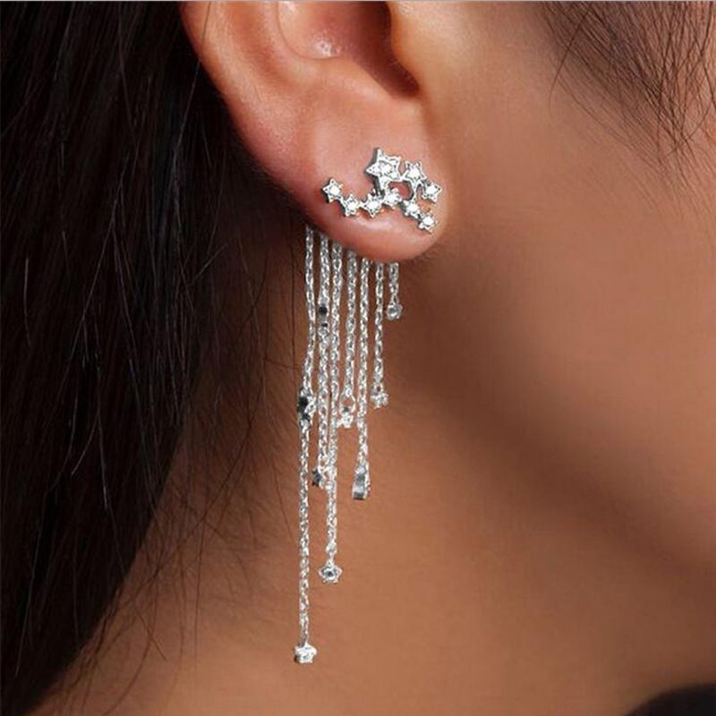 1 Paar Mode Frauen Stilvolle Gold/silber Farbe Stern Gestrafft Quaste Lange Kristall Ohrringe Frauen Mädchen Schmuck Pendante Femme