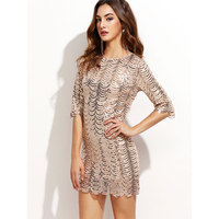 2017 Summer Women Sexy Party Dress Shining Half Sleeve Fish Scales Mini Club Sequins Dress