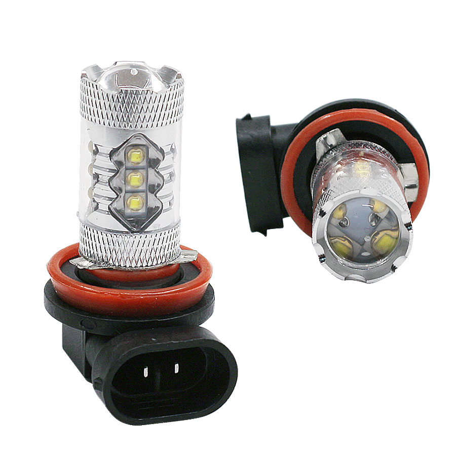 YCCPAUTO 1Pcs High Power H8 H11 LED Fog Lights 80W Pure White 6000K For Car LED Driving Light DRL Bulbs Car Lights 12V