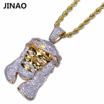 2be9281bc047 Jinao joyería de hiphop collar oro color iced out cobre micro pavimentar CZ  piedra Faraón Head Colgantes con 60