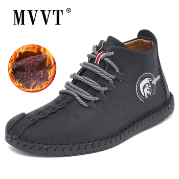 Classic Comfortable Men Ankle Boots Quality Split Leather Shoes Men Snow Boots Winter Shoes Keep Warm Fur Man Boot Shoes