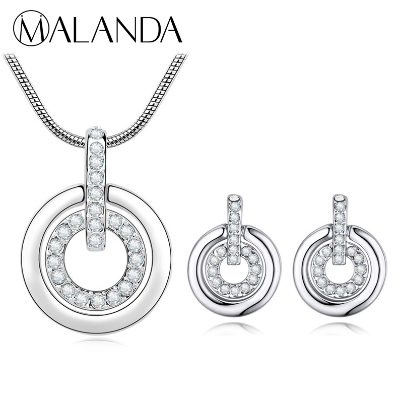 MALANDA Crystals From Swarovski Jewelry Sets Fashion Double Circle Pendant Necklace Earrings Sets For Women Wedding Accessories все цены