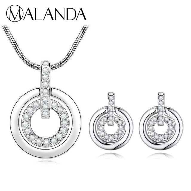 07087124cc41 € 7.5 30% de DESCUENTO|MALANDA Marca Caliente Del Diseño Doble Círculo  Colgante Collar Aretes Para Las Mujeres Cristales De Swarovski Bodas Juegos  ...