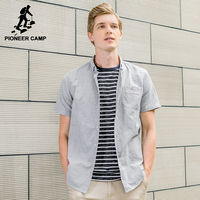 Pioneer Camp Short Sleeve Shirt Men Brand Clothing Solid Summer Shirt Male Top Quality Grey Pink