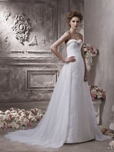 $10 off per $100 order 16-6 Sexy Fashon A-line Sweetheart Detachable Trailing Lace Wedding Dresses