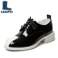 LEEPO Oxford Shoes for Women Luxury Designers Genuine Leather Off White Lace Up Round Toe Oxford Woman Korean Dress Soft Shoes