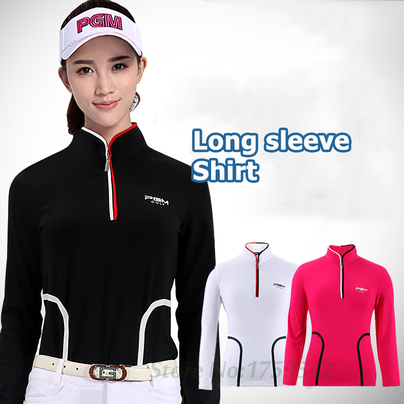 PGM Women Shirt Golf Apparel Autumn Long Sleeve T-shirt Slim Waist Stand-up Collar Golf clothes High quality simple style buttoned stand collar solid color long t shirt for women