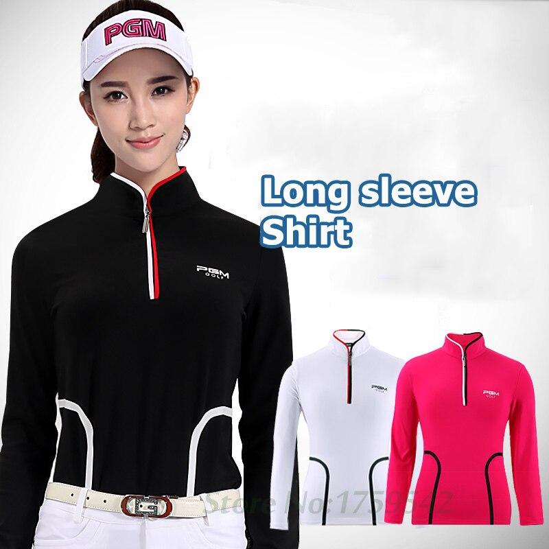 PGM Women Shirt Golf Apparel Autumn Long Sleeve T-shirt Slim Waist Stand-up Collar Golf clothes High quality button up mandarin collar asymmetrical paisley shirt