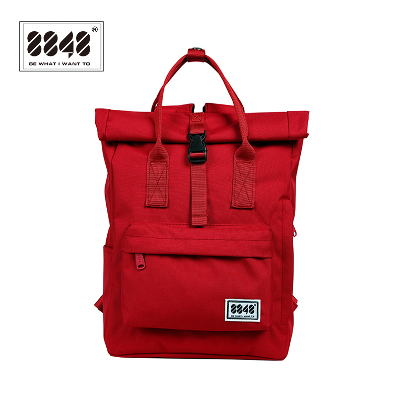 8848 Women's Oxford Backpack Preppy School Bag College Student Travel Bag Girls Red Backpack Large Capacity Rucksack 030-041-011 image