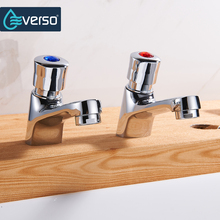 цена на EVERSO 2Pecs/Set Deck Mounted Brass Basin Faucet Bathroom Faucet Vanity Vessel Sinks Mixer Tap Torneira