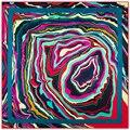 100*100 cm sarja lenços De Seda 2017 novos das mulheres geométricas vortex abstrato do teste padrão de onda sarja igital impressão feminino xales de seda