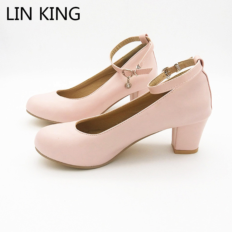 LIN KING New Women Pumps Solid Buckle Round Toe Lolita Shoes Thick Square Medium Heel Shoes Ankle Strap Platform Shoes Plus Size lin king danganronpa nanami chiaki anime cosplay shoes lolita sweet lady wedge shoes round toe buckle women pumps plus size 43