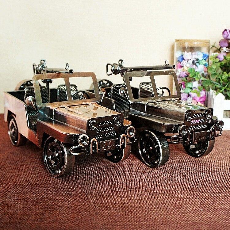 Fait à la main seconde guerre mondiale en métal militaire véhicule chariot canon voiture décoration vintage décor à la maison décoration accessoires moderne