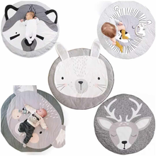 90CM  Baby Infant Play Mats Kids Crawling Carpet Floor kid Rug Baby Bedding Rabbit Blanket Cotton Game Pad Children Room Decor 90cm baby play mats carpet kids room rabbit lion animal soft cotton crawling mats round floor rug playmats for baby gym mat