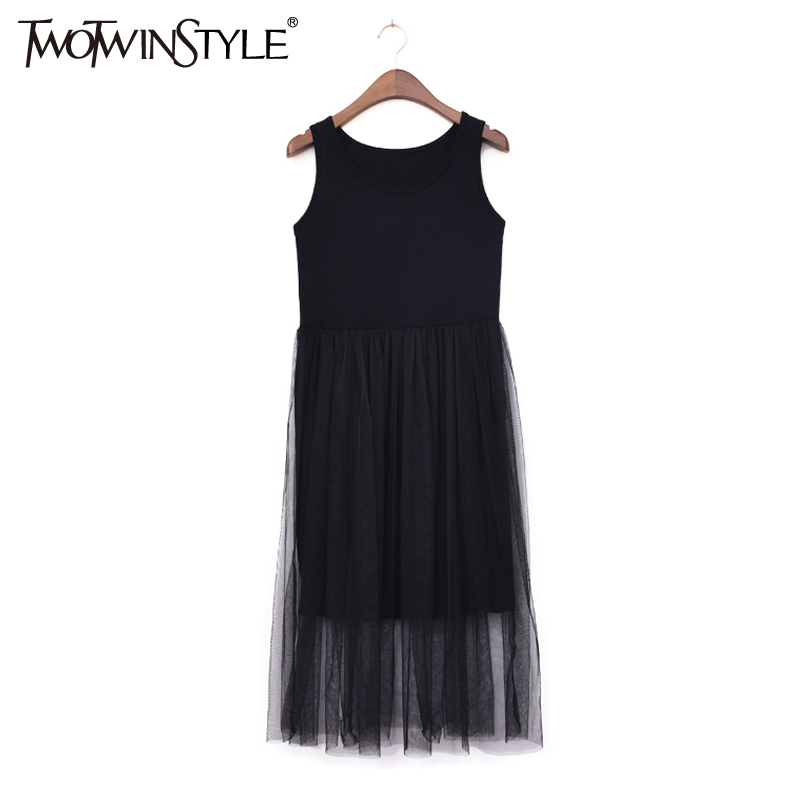 GALCAUR Tulle Summer Dress Vest Midi Long Beach Dresses Women Sleeveless Sexy Tunic Female Clothes Korean Big Plus Size
