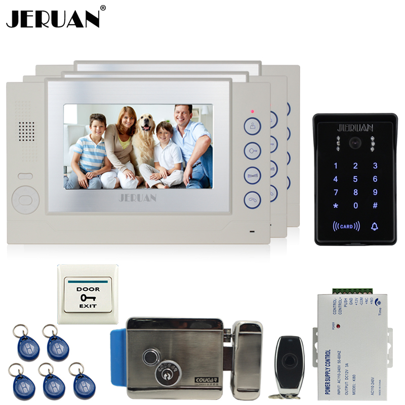 JERUAN 7`` video doorphone Record intercom system Kit 3 monitor New waterproof Touch Key password keypad Camera 8G SD Card Free jeruan 7 lcd video door phone record intercom system 3 monitor new rfid waterproof touch key password keypad camera 8g sd card