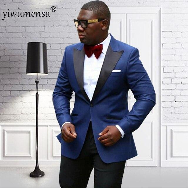 Yiwumensa Châle Revers Marié Smoking Deux Pièces Hommes costumes Marine  Bleu avec noir costume homme mariage 3a61ba559ed