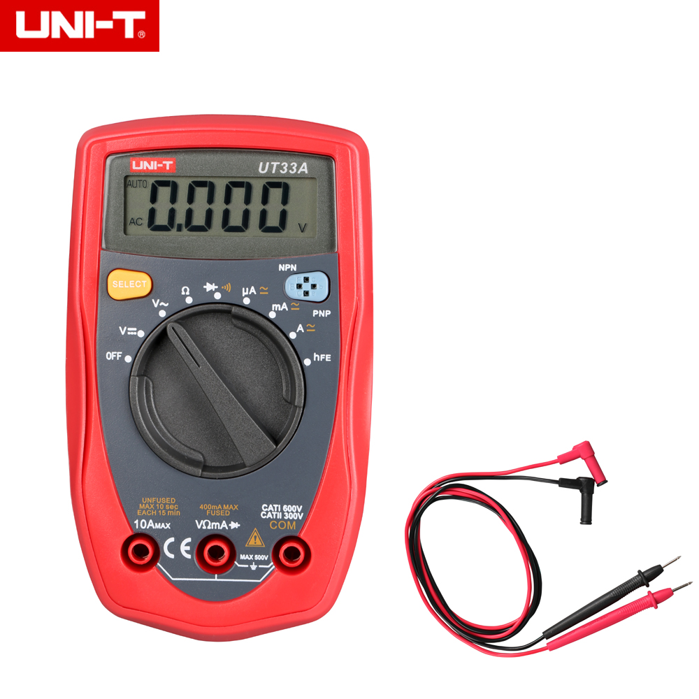 UNI-T <font><b>3</b></font> <font><b>3</b></font>/<font><b>4</b></font> LCD UT33A UT-33A Palm Size Handheld Digital Multimeters Auto-Range