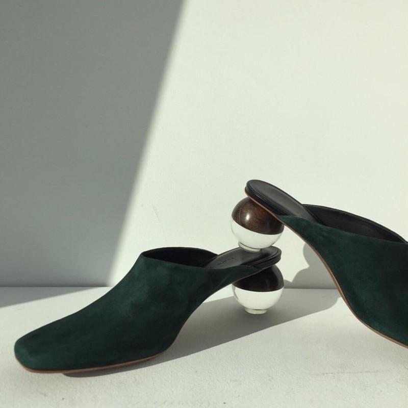 Mujer Del Primavera En Dedo Zapatos As Verano Talón Moda Mulas Diseño Pie Deslizadores as Cristal Tacones Bola Show De Show Mujeres Bombas Cuadrado Claro nxHaqpA