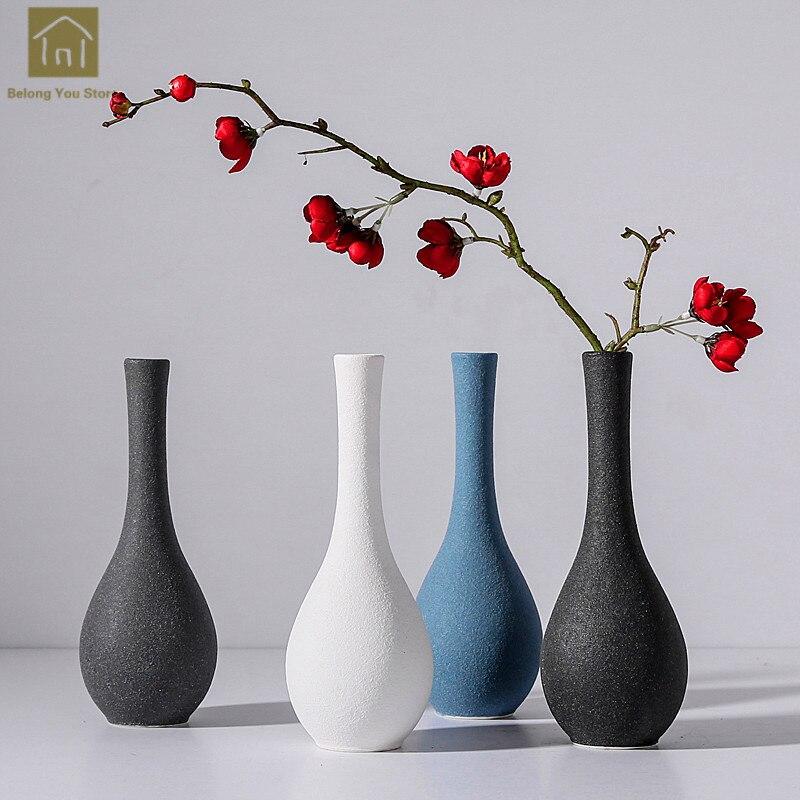 Modern Ceramic Vase Decoration Home Flower Jarrones Decorativos Moderno Florero Vintage Mediterranean Vase Florero Vasi QAB078