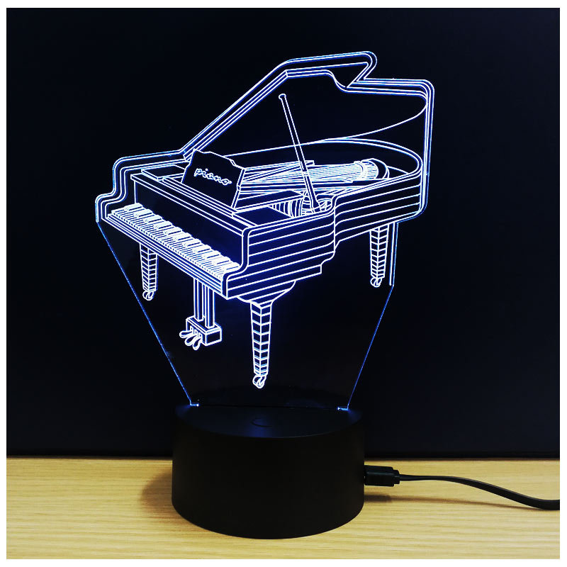 Piano 3D Optical illusion Night Light 7 Color Change LED Lamp Bedside Table Desk Baby Children Bedroom Home Bulb Party Decor