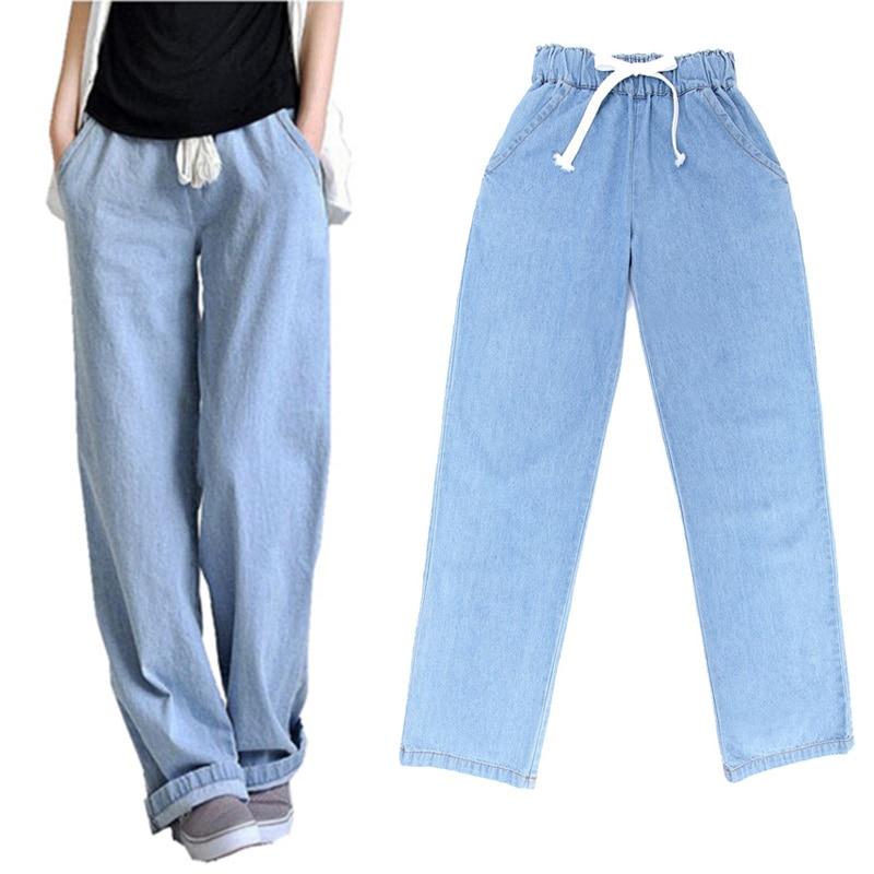 US $21.55 10% OFF Nowy Plus rozmiar wygodny sprany niebieski luźna szeroka nogawka spodnie dżinsowe damskie jeansy w pasie kowbojskie pełne długie