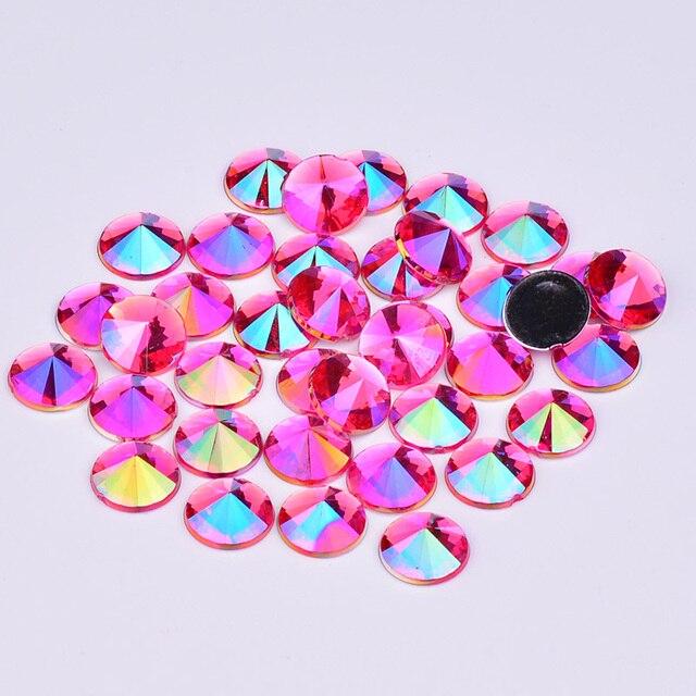 JUNAO 4 5 6 10mm Rose AB Rivoli Rhinestones Flat Back Acrylic Gems Rivoli Strass  Crystal 72db7ec6f7c0
