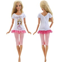 1 PCS Handmade Fashion Outfit Short Dress Cartoon Cute Pattern T-shirt Leggings Trousers Accessories Clothes for Barbie Doll Toy