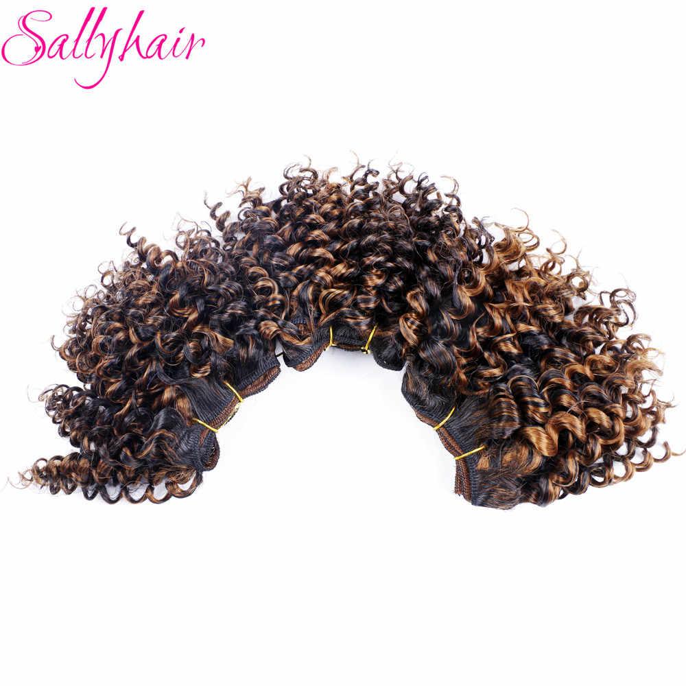 Sallyhair афро кудрявые вьющиеся высокотемпературные синтетические пряди волос на сетке вязанные крючком волосы плетение Омбре цвет 3 шт./лот волосы Weavings