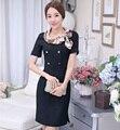 Новый элегантный черный профессиональные формальное пр стили тонкий мода женские платья рабочая одежда женский свободного покроя топы платье Vestidos одежда