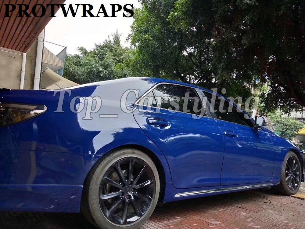 Enveloppe de vinyle bleu nuit brillant pour emballage de voiture entier feuille de protection colle à faible adhérence comme 3 M qualité 1.52X20 M/5x67ft