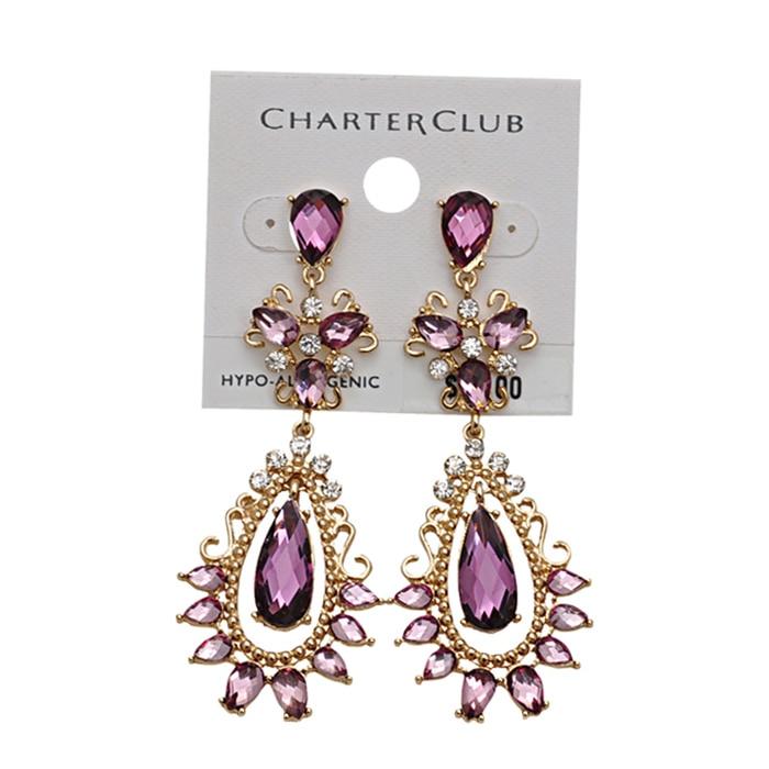 5be7fb71bf SHUANGR Purple crystal earrings Gold Color Purple Dangles rhinestone  Earrings women CZ Stone brincos boucle d'oreille femme