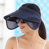 Korean Flexible Air Top Women Plastic Sun Visor Hat Summer Fold Sunscreen Outdoors Sandy Beach Defence