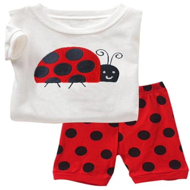 Baby kids Pajamas Set summer children Short Sleeve cotton sleepwear Boys Cartoon pyjamas girls cute home clothing boys nightwear