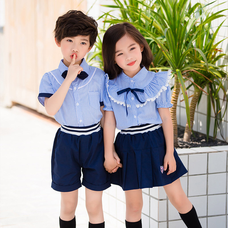 Academic Summer School uniforms Costumes Shirt Shorts Skirt Suit Girls Boys Kindergarten Junior Middle School Students Uniform
