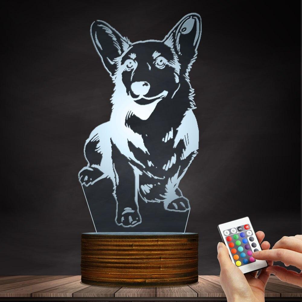 1 pezzo Cardigan Welsh Corgi Dog 3D illusion Luce di Notte Moderna Lampada Da Tavolo Decor Animale Da Compagnia Hound Puppy LED di Notte luce