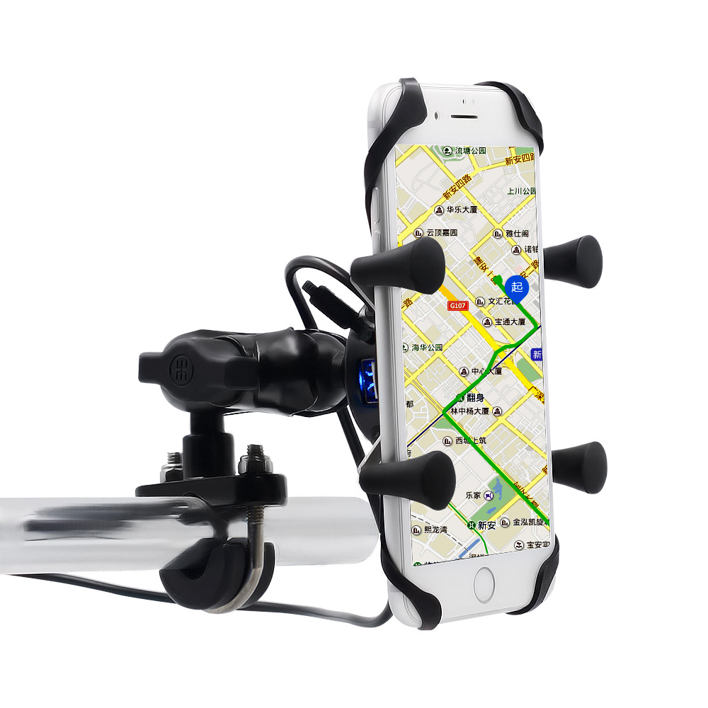 WUPP motorcycle mobile phone bracket 3.5-6 inch car usb charger navigation bracket usb charging with switch dfdf