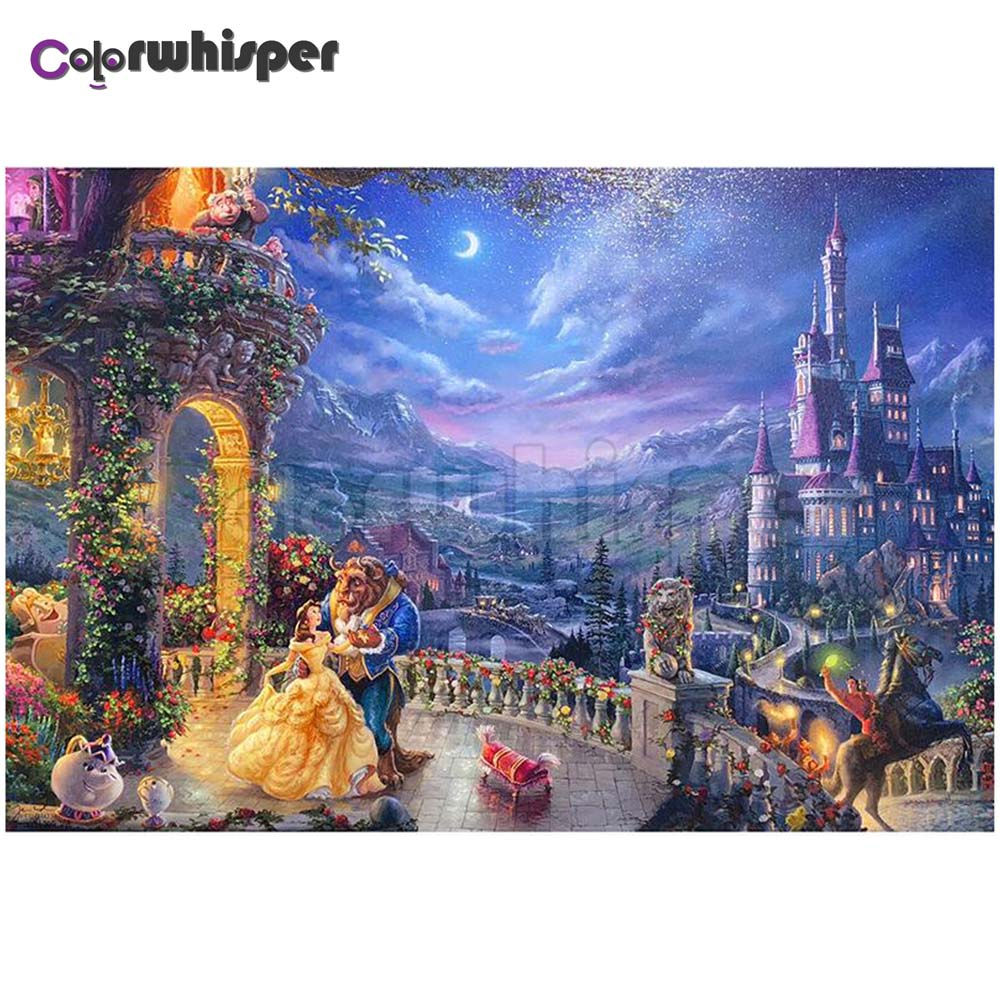 Diamond Painting Full Square/Round Drill Cartoon Beauty And The Beast Moon Castle Diamond Painting Embroidery Cross Stitch Z120