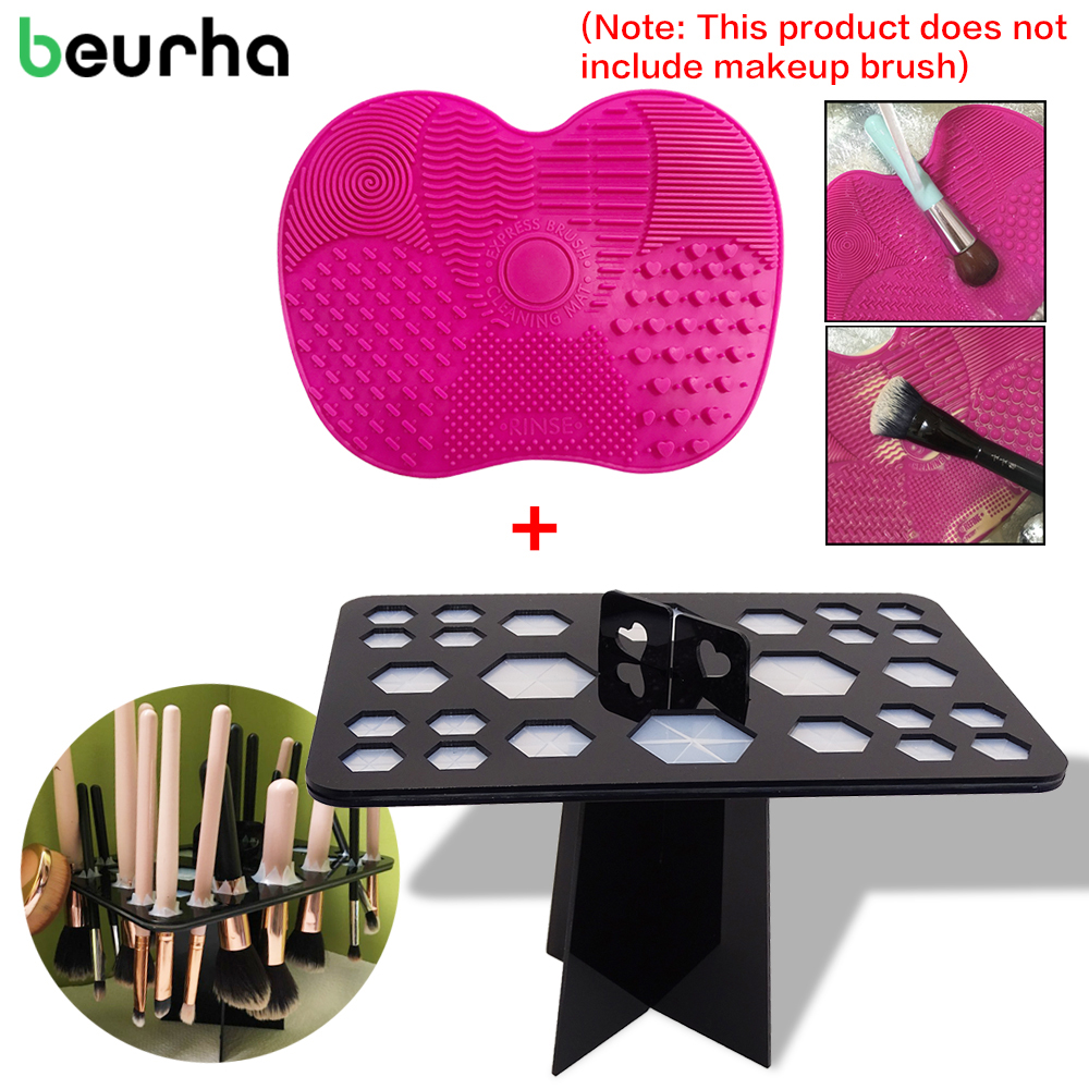 Beurha 26 Holes Acrylic Makeup Brush Holder Drying Rack Multifunction Stand Display Cosmetic Clean Tool With Gel Cleaning Mat easy install brush drying rack tree for different standard holes random color