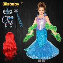 Summer Infant Girl Ariel Dress Birthday Party Halloween Carnival little Mermaid Cosplay Costume Childrens Up