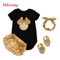 Baby Girl Clothing Sets Black Cotton Rompers + Golden Ruffle Bloomers + Shoes + Headband 4pcs Infant Newborn Next Clothes