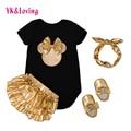Ropa del bebé establece mamelucos de algodón negro + oro bloomers de la colmena + zapatos + diadema 4 unids recién nacido next ropa