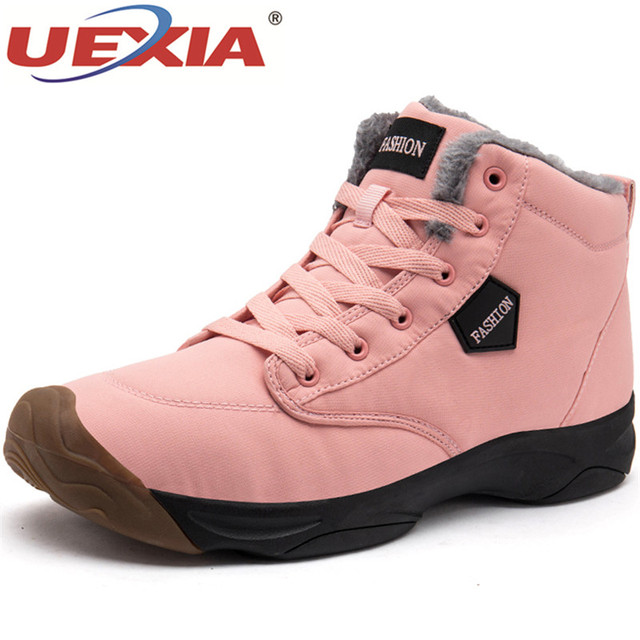 UEXIA Women Ankle Boots Snow Women's Casual Boots With Short Plush Fur Warm Winter Fashion Ladies Shoes Round Toe Female Shoe