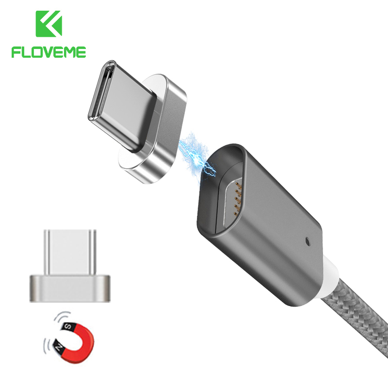 FLOVEME Magnetic Type-C Cable For Samsung S8 Plus Xiaomi 5 6 5X 5A Huawei Mate 9 P9 P10 Meizu Pro 7 Fast Charger Type C Data USB