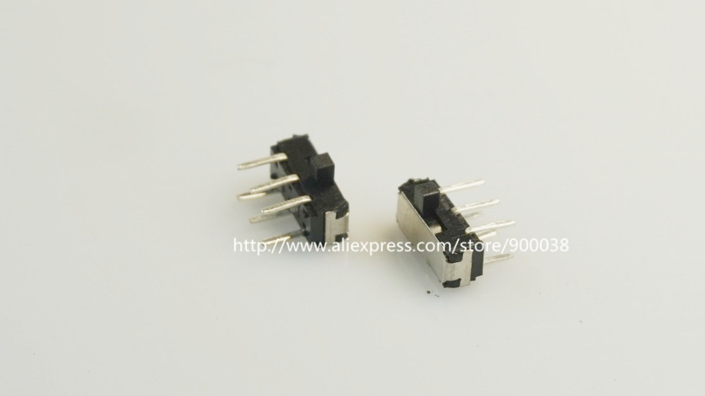 100 Pcs Miniature Slide Switch 6 Pin 2p2t Dpdt On On Right