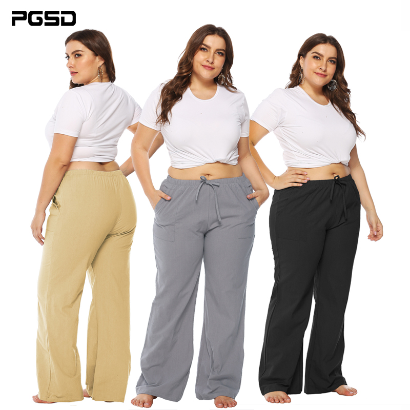 PGSD Simple Fashion Big size Solid Women Clothes Loose Middle-waisted Pocket Trumpet tied casual trousers female   Wide     Leg     Pant