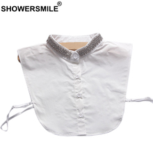 SHOWERSMILE Fashion Detachable Collar Women Cotton Beaded Fake Stand Removable Solid Pearl Ladies Clothes Accessories