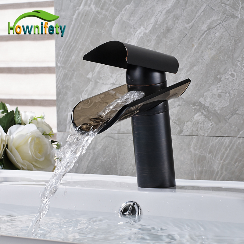 solid brass oil rubbed bronze countertop bathroom sink faucet single handle glass waterfall
