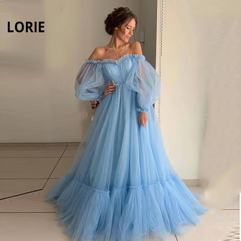 LORIE Blue Prom Dresses Long Sleeve Off the Shoulder Princess Dress 2020 Tulle Lace up Formal Evening Party Dresses Plus Size