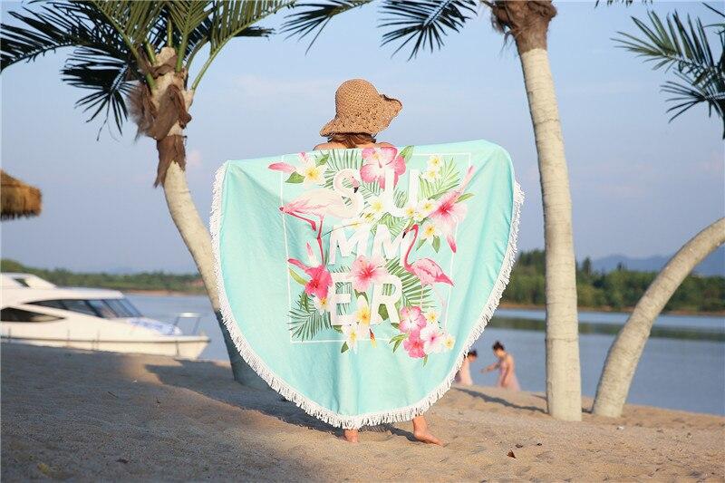 HTB1nW3KSpXXXXX1XVXXq6xXFXXXn - Round Style Microfiber Beach Towel - Flamingo With Tassels Design